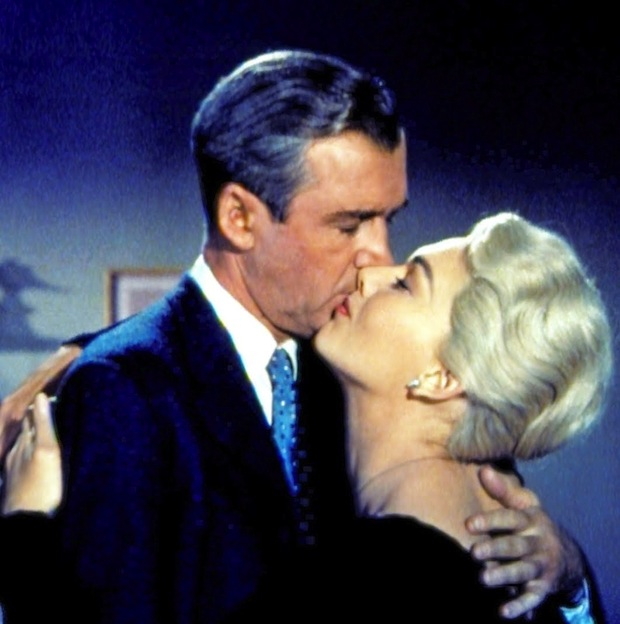 James Stewart and Kim Novak in Vertigo